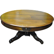 """Antique Rococo Round Walnut Dining Table 63""""Diam to 10 ft Long Oval Circa 1870"""