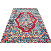 Gorgeous Hand Knotted Red Beige Blue Persian Kerman Rug 7.9 x 11.6