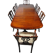 9 PC Chippendale Style Mahogany Dining Set, Table & 8 Chairs, 10FT Long