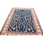 Large Hand Knotted Blue Floral Oriental Rug 12' x 9', Wool