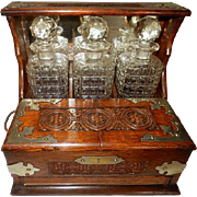 Antique English Oak Campaign Travel Bar, Mini, Portable 13 x 17