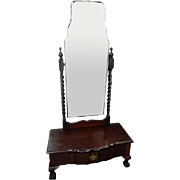 "Antique English Chippendale Style Mahogany Cheval Mirror 66""H"