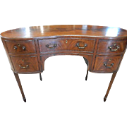 "Antique English Sheraton Style Flaming Mahogany Kidney Desk 42""W"