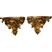 """Superb Hand Carved Antique French Gilt Marble Top Sconces 22""""W"""