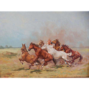 Horses, An Original Oil on Canvas 25 X 29
