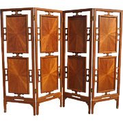 """Gorgeous Asian 4 Panel Solid Wood Room Divider Screen 96""""W x 72""""H"""