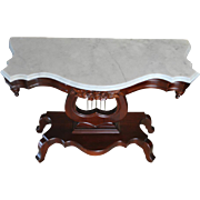 """Vintage Italian Rosewood Lyre Base Marble Top Console Table, Circa 1950, 37.75W x 28.5""""H"""