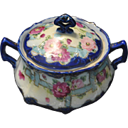 "Vintage Covered Soup Tureen Blue Floral Gold Trim 8""W"