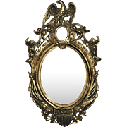 """Solid Brass Federal Mirror, Design Patented Nov 25th 1862, 19""""H"""