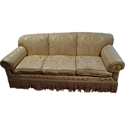 "Gold Silk Brocade Down Filled Sofa 86"" W"