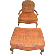 French Chaise, Fauteuil & Foot Stool, Armchair & Ottoman