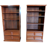 "Pair of Fine Teak Bookcases, Cabinets 76""H"