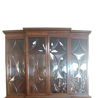 "Antique Mahogany Breafront Secretary, China Cabinet, Bookcase 79""H"