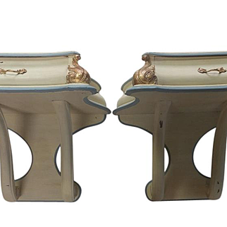 2 Antique Rococo Gold Gilt Floating Side Tables, Beige, Lt. Blue