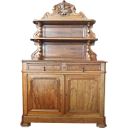 "Antique French Cupboard with Hutch, Solid Walnut, Circa 1870, 80.25""H"