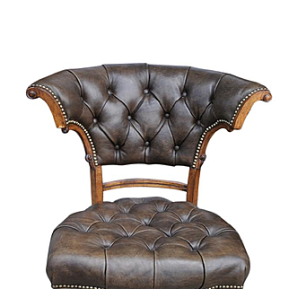 "Ferguson Copeland LTD Tufted Leather Side Edwardian Game Chair with Casters, 3 available, Brown Leather, 36""H"