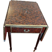 "Widdicomb Drop Leaf Side Table, Faux Tile Top, Casters, 29"" x 22"" x 29"""