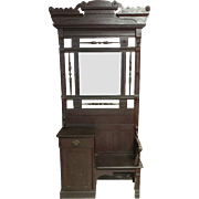 "Antique Hall Tree, Circa 1880, Mahogany, Beveled Mirror, 13""D x 36""W x 86""H"
