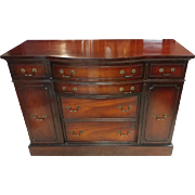 "Petite 48"" Wide Sheraton Style Bow Front Buffet, Sideboard, Mahogany"