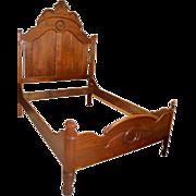 "Antique Victorian Walnut Full Bed, Circa 1860, 82.5""H"