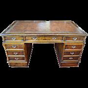 "Leather Top Kneehole Desk, Burl Walnut, 61""W"