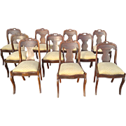 "Set of 10 Antique Side Dining Chairs, Mahogany, Circa 1860, 32""H"