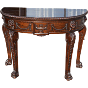 "Spectacular Antique Demilune Table, Paw Feet, Carved, Mahogany, 23.75""D x 48""W x 35""H"