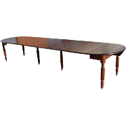 Antique Mahogany Drop Leaf Dining Table, Round, Oval, 10 Leaves, 13.5FT, Circa 1870