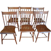 Set of 6 Antique Plank Dining Chairs, Solid Wood, Circa 1870, 33″H, PA4746