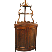 Antique Victorian Walnut Etagere Corner Cabinet, Circa 1880, 71″H, PA4751