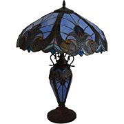 Blue Tiffany Style Stained Glass Table Lamp, 2 Light, 25″H, PA4760