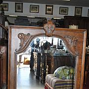 New, Unused, Drexel Heritage Carved Wood Mirror Walnut Finish