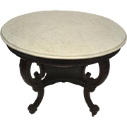 """Antique Rococo Marble Top Oval Lamp, Side Table, 30""""H"""