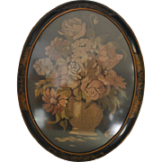 "Antique Framed Floral Tapestry, Oval Frame, 17"" x 22"" Circa 1880"