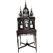 "Spectacular Gothic Temple Birdcage Hand Crafted Solid Mahogany on Table 73""H"