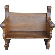 "Rare Antique Solid Oak Church Pew, Parsons Bench, Gothic Style, Ca 1920, 46.5""W x 40""H"