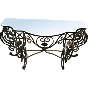 "Elegant Wrought Iron Glass Top Console Table, Beveled, Antique Gold, 19.5""D x 58""W x 30.75""H"