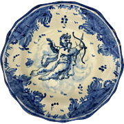 Savona Albisola Faenza Ceramic Bowl Scenografia Barroca Cupid Bow Arrow Blue White