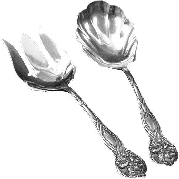 American Sterling Silver Fork and Spoon Serving Set Art Nouveau Style - USA