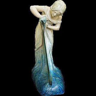 Art Nouveau / Jugendstil Terracotta Woman Mirror Signed Koenig & Lengsfeld Majolica- c. 1900's, Koln-Lindenthal