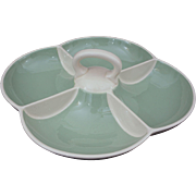 Villeroy & Boch Mid Century Modern Celadon Green Ivory Porcelain Handled Divided Serving Bowl - 1947 to 1956, France