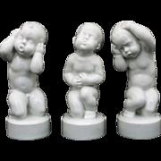 Set Three Danish Bing Grondahl Porcelain Children Figurines White - 20th Century, Denmark