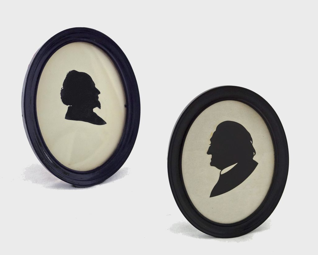 Pair of Cut Paper Gentlemen Silhouette Portraits in Oval Frames - USA