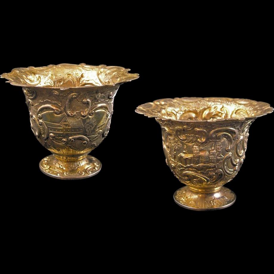 pair gilt silver cups / vessels / beakers castle decor