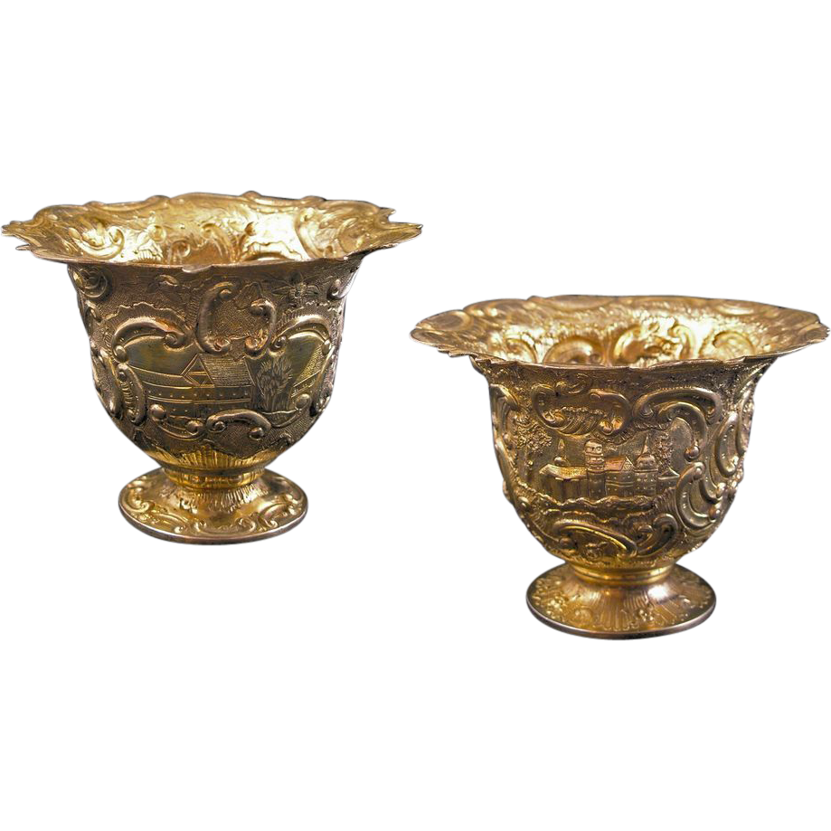 Pair Gilt Silver Cups / Vessels / Beakers Castle Decor Tremolierstich - c. 1852, Netherlands