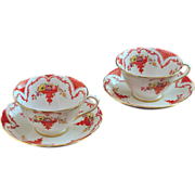 Pair of Porcelain Cups and Saucers Chelsea England - c. 20th Century, England