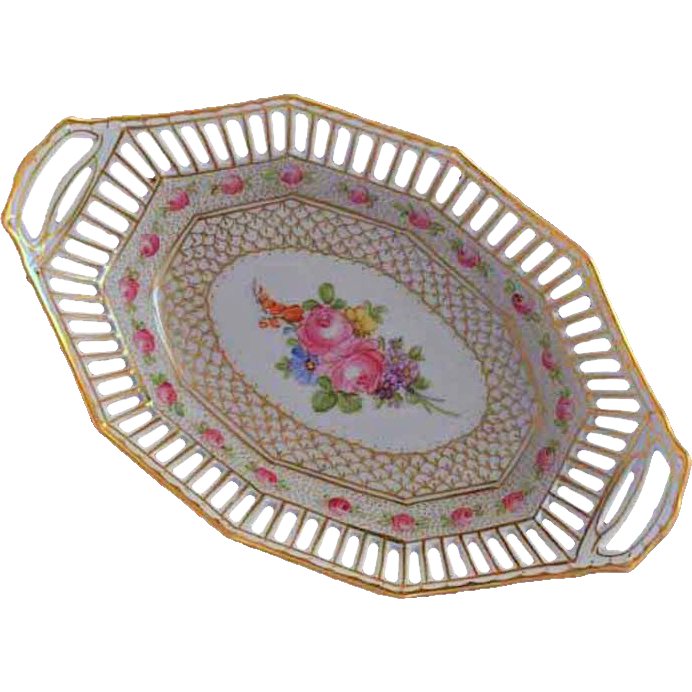 Franziska Hirsch Dresden Reticulated Oval Bowl - c. 1900's, Gentury, Germany