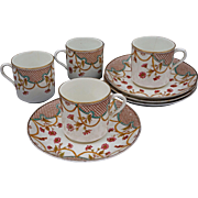 Aesthetic Polychrome Transferware Trellis 4 Demitasse Cup Saucer Set Antique Porcelain - 1889, England