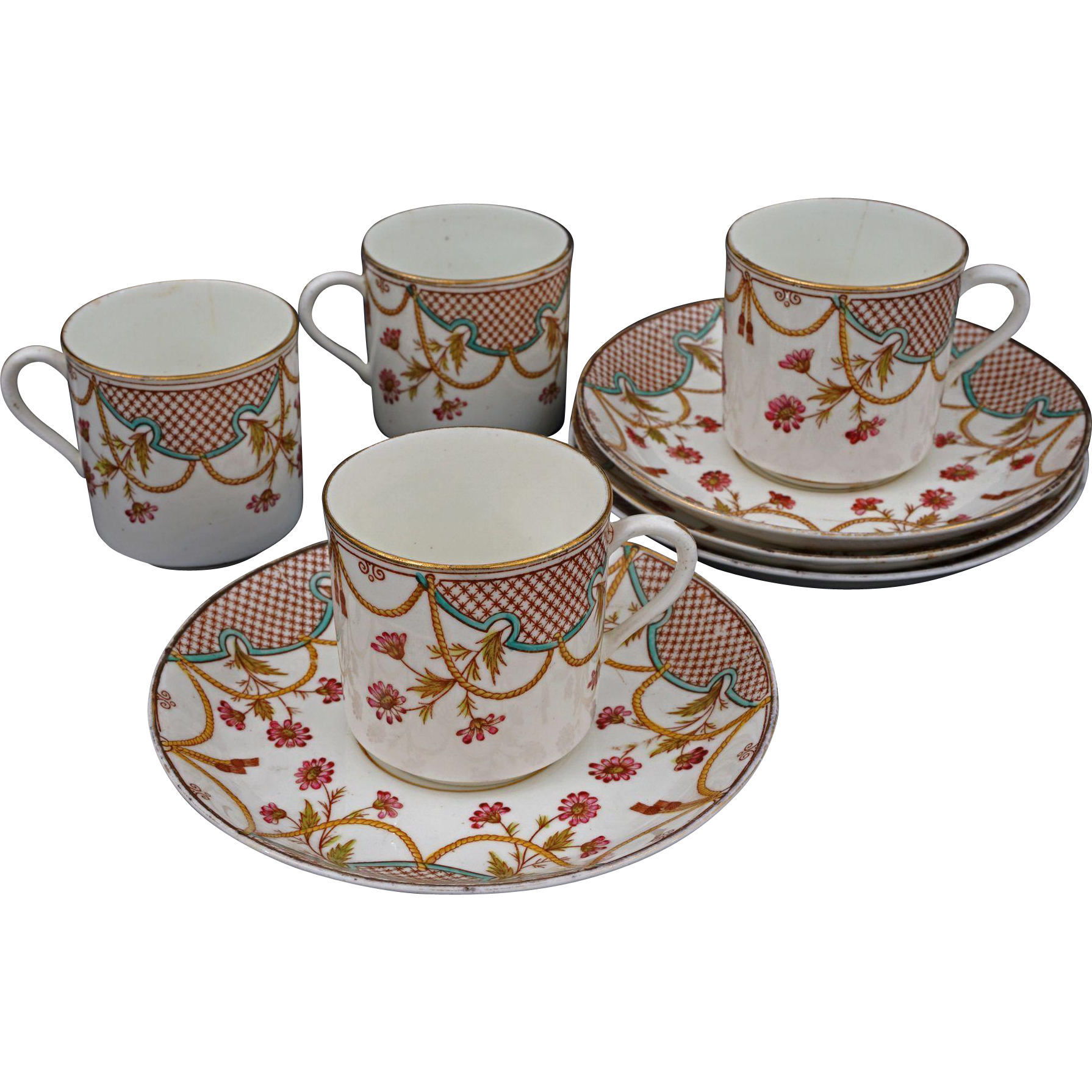 Set of Four W&B Demitasse Cups and Saucers Antique Porcelain - 1889, England