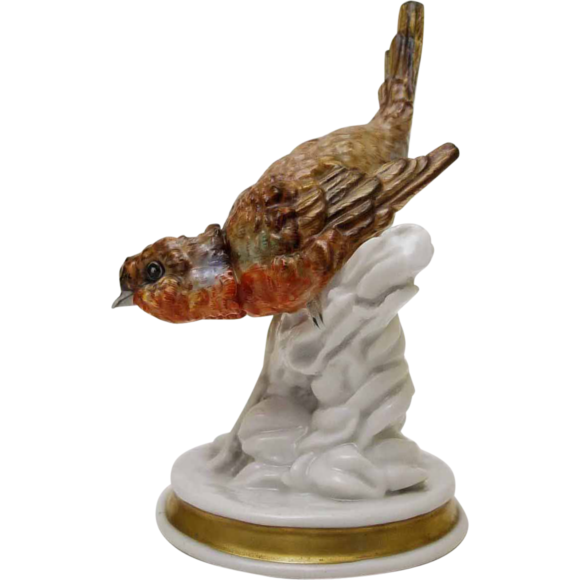 Antique Dresden Porcelain Bird Figurine - c. 19th Century, Germany